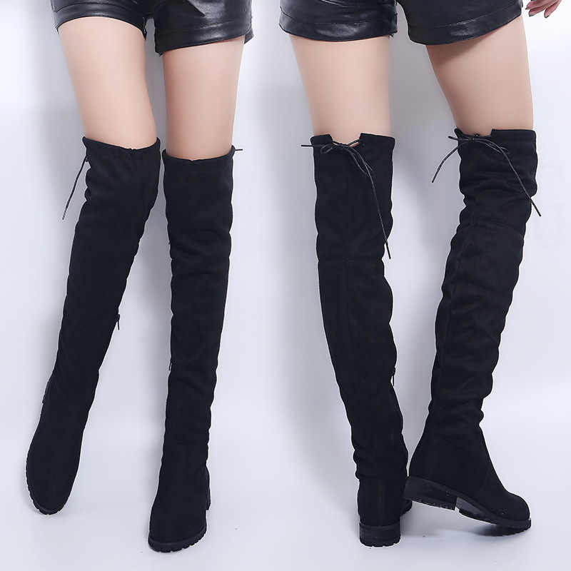 Bottes Sexy sur le genou femmes bottes femmes chaussures d'hiver femmes daim Bota femmes bottes longues mode cuissardes grande taille 43