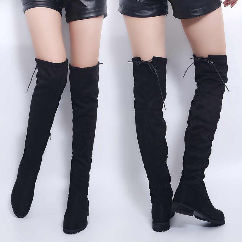 Sexy Over-De-Knie Laarzen Vrouwen Laarzen Vrouwelijke Winter Schoenen Vrouwen Suède Bota Vrouwen Lange Laarzen Mode Dij hoge Laarzen Plus Size 43