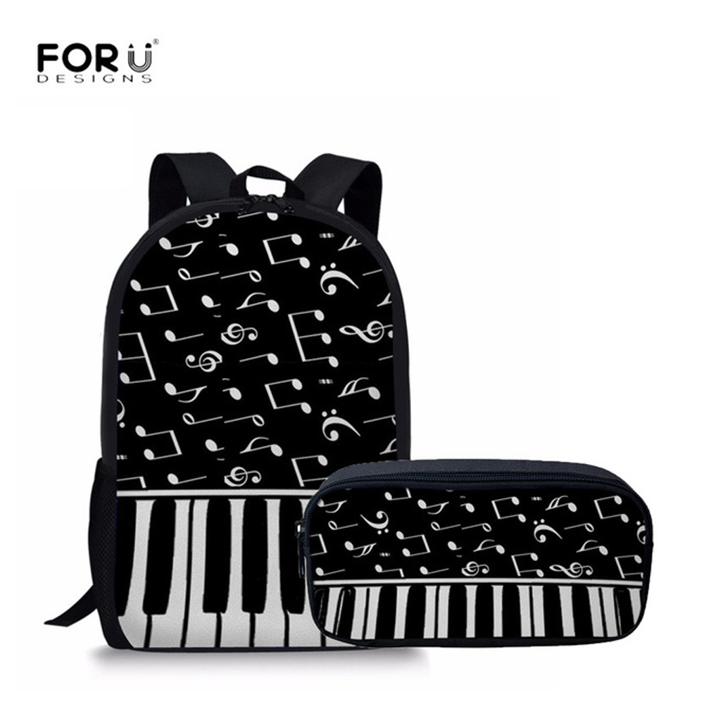 FORUDESIGNS Men Backpack Fashion Piano Keyboard With Music Note Pattern School Backpack For Teen Boys Girls 2pcs/Set Pencil Bags