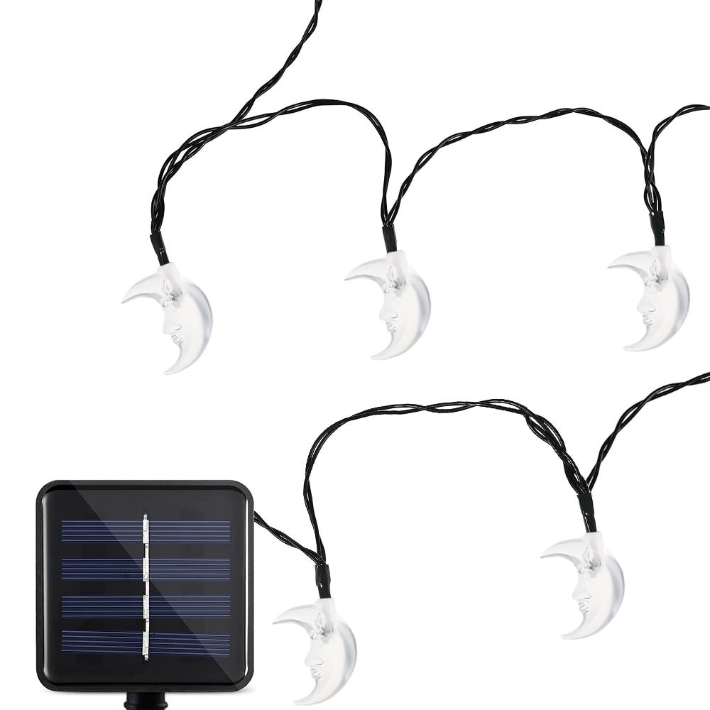20 Leds Lovely Moon String Lamp Solar Powered Waterproof Home Yard Christmas Deco Solar Garland Fairy Lights Garden String Light
