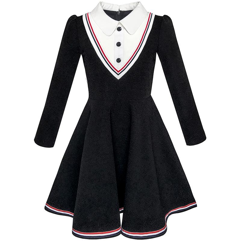 Sunny Fashion Girls Dress School Uniform White Collar Long Sleeve Striped 2017 Summer Princess Wedding Party Dresses Size 4-12 sexy princess dress uniform red yellow blue free size