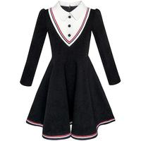 Sunny Fashion Girls Dress School Uniform White Collar Long Sleeve Striped 2017 Summer Princess Wedding Party