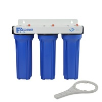 3 Stage Filtration System Blue 3/4 Brass insert Water Filter Whole House With 2.5x10 Sediment 5um ,Carbon Block ,Sediment 1um