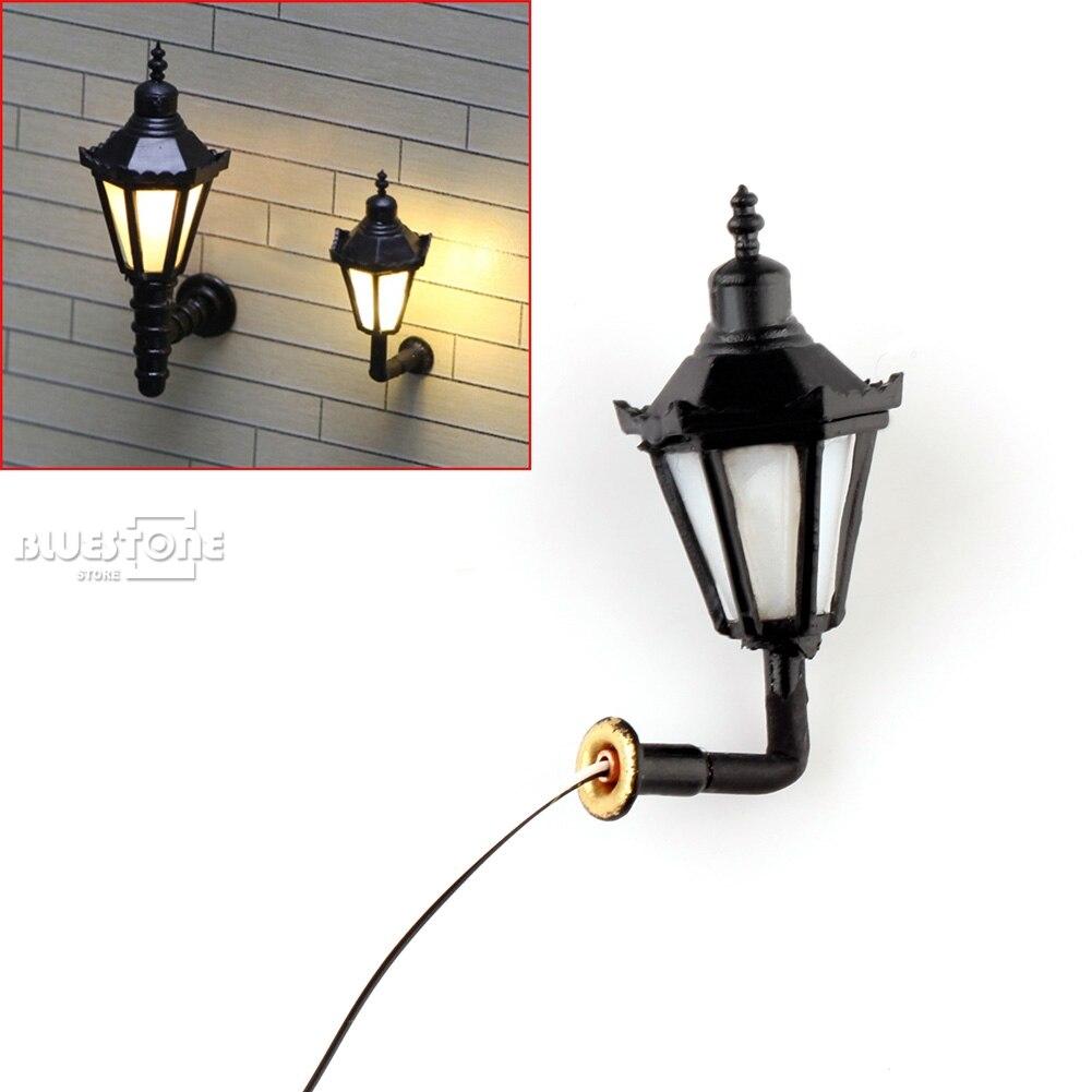 10 Pcs HO Scale 1:100 Model Lamppost 3V Bulbs Wall Light Lamps