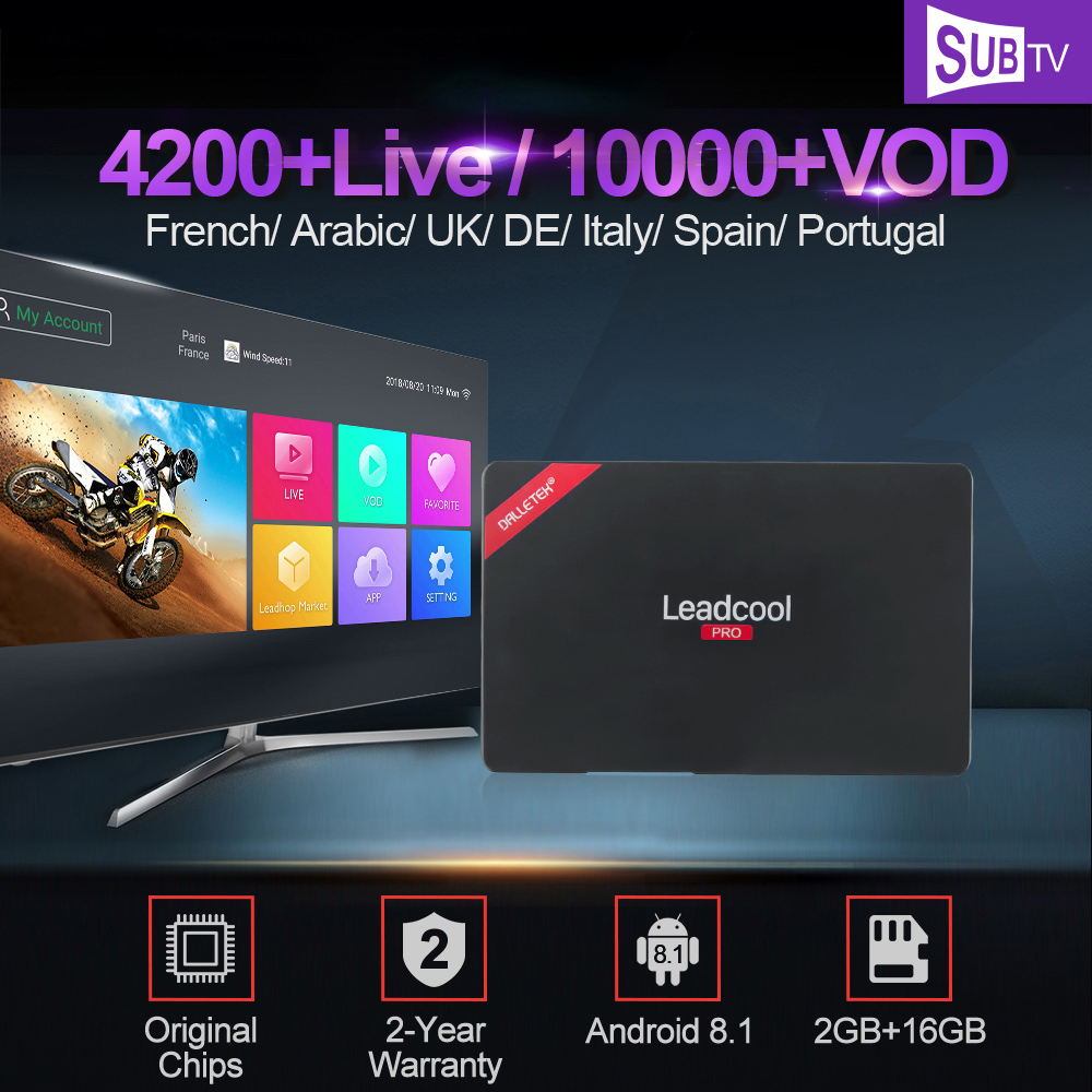 Leadcool Pro Android 8 1 TV Box Iptv France RK3229 1 Year SUBTV Iptv Subscription 2GB