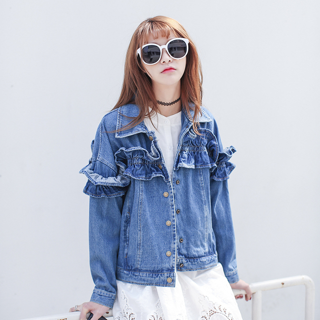 da566ebf5038a Jeans Jacket Women 2017 Spring Casual Preppy Ruffles Blue Turn Down Collar  Long Sleeve Denim Coat jaqueta jeans C51