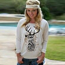 Women O Neck Long Sleeve Print Loose Sweatshirts New Fashion