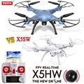 Nueva syma x5hw fpv rc quadcopter con cámara wifi vs x5sw Drone RC Helicóptero de Control remoto con 5 baterías + 5in1 Cable