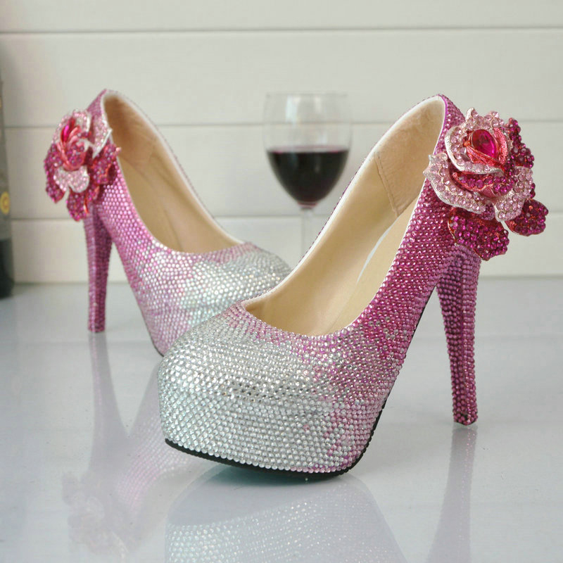 Pink Rhinestone Wedding Shoes Wholesale Price Bridal Dress Shoes Gorgeous Crystal Party Prom High Heels Graduation Party Pumps sweet girls pink rhinestone and ivory pearls diamond wedding high heels shoes graduation ceremony party pumps drop shipment