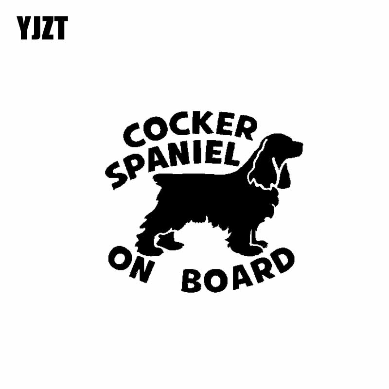 YJZT 15CM*13.8CM COCKER SPANIEL ON BOARD Dog Lovely Sticker Car Vinyl Decals Black Silver C10-00646