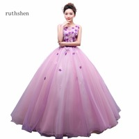ruthshen Vestidos De 15 Anos Sleeveless Pink Flowers Cheap Quinceanera Gowns Sweet 16 Debutante Dresses 2018 Ball Gown Party