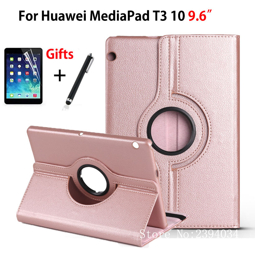 Case For Huawei MediaPad T3 10 AGS-L09 AGS-L03 9.6 Cover 360 Rotating Funda Tablet for Honor Play Pad 2 9.6 PU Case+Film+Pen case for huawei mediapad t3 10 ags l09 ags l03 9 6 inch cover funda tablet for honor play pad 2 9 6 cover case with hander strap