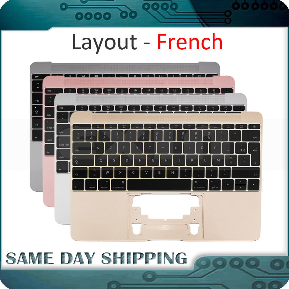 For Macbook 12'' A1534 French AZERTY FR Topcase Palm Rest w/ Keyboard Top Case 2015 2016 2017 Gold/Gray/Silver/Rose Gold new genuine 12 inch a1534 palm rest 2016 year for macbook air retina a1534 palmrest top case topcase uk eu layout replacement
