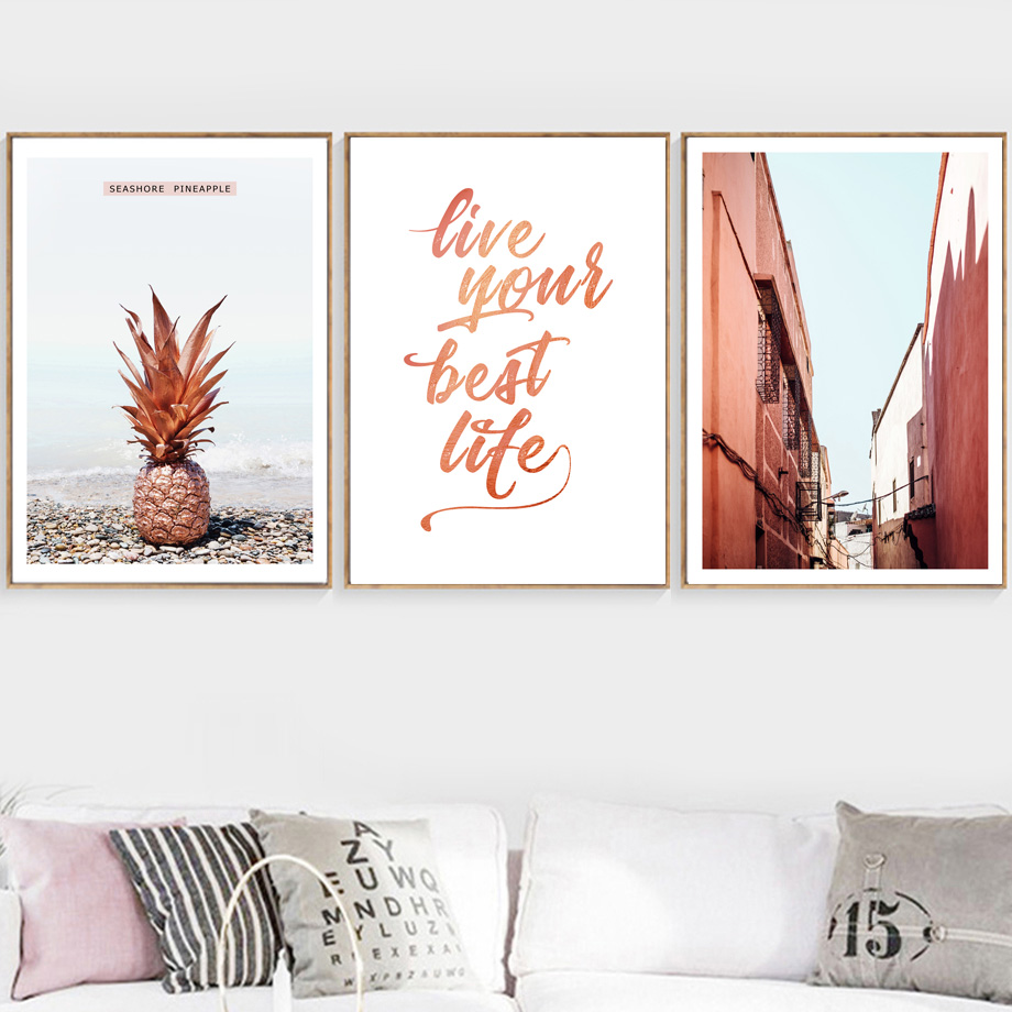 Pink Beach Pineapple Flamingo Quotes Wall Art Canvas Painting Nordic Posters And Prints Wall Pictures For Living Room Home Decor in Painting Calligraphy from Home Garden