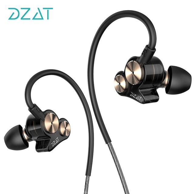 Newest Original DZAT DT-05 Double Dynamic 3.5mm In Ear Earphone Noise Sports Earphone DJ HIFI Bass Headset Earbuds Free Shipping