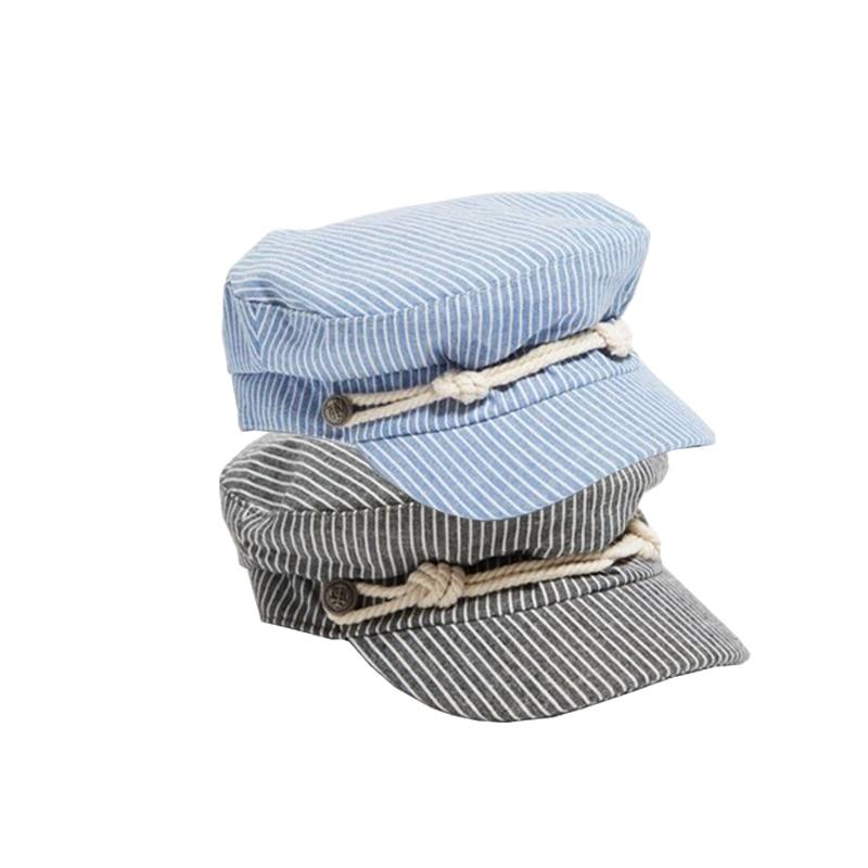 e6be7aeecfd4a Compre Nuevo Sombrero Rayado Azul Marino Gorro Para Mujer Marinero ...