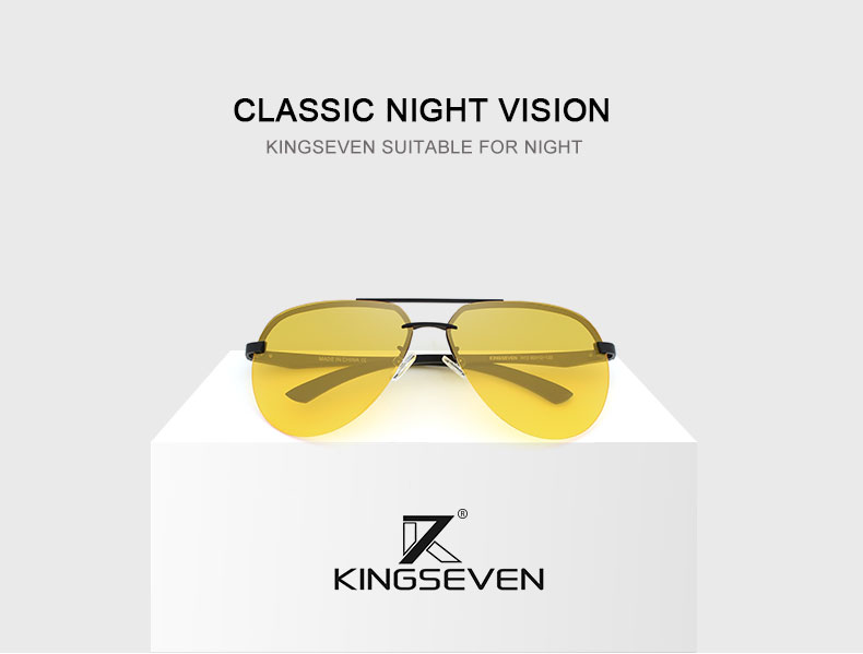 KINGSEVEN 17 Aluminum Magnesium Polarized Sunglasses Men Brand HD Night vision Polaroid Lens Driving Sun glasses Vintage Male 1