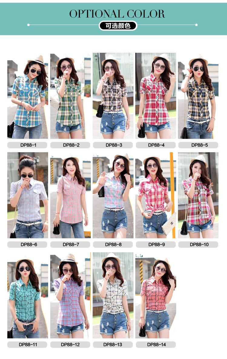 HTB1wQz1JFXXXXcEXpXXq6xXFXXXv - New 2017 Summer Style Plaid Print Short Sleeve Shirts Women