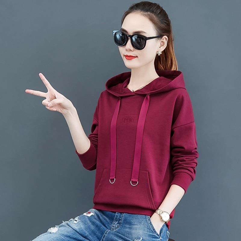 2019 Korean Fleece Warm Women Hoodies New Loose Long Sleeve Female Casual Letter Hooded Tops Fashion Ladies Plus Size Pullover 4