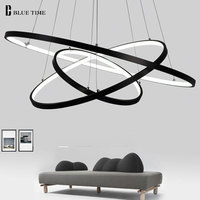 Black/Glod Fashional super thin Modern chandeliers circle 3 rings led chandelier light for indoor lighting 40CM 60CM 80CM 100CM