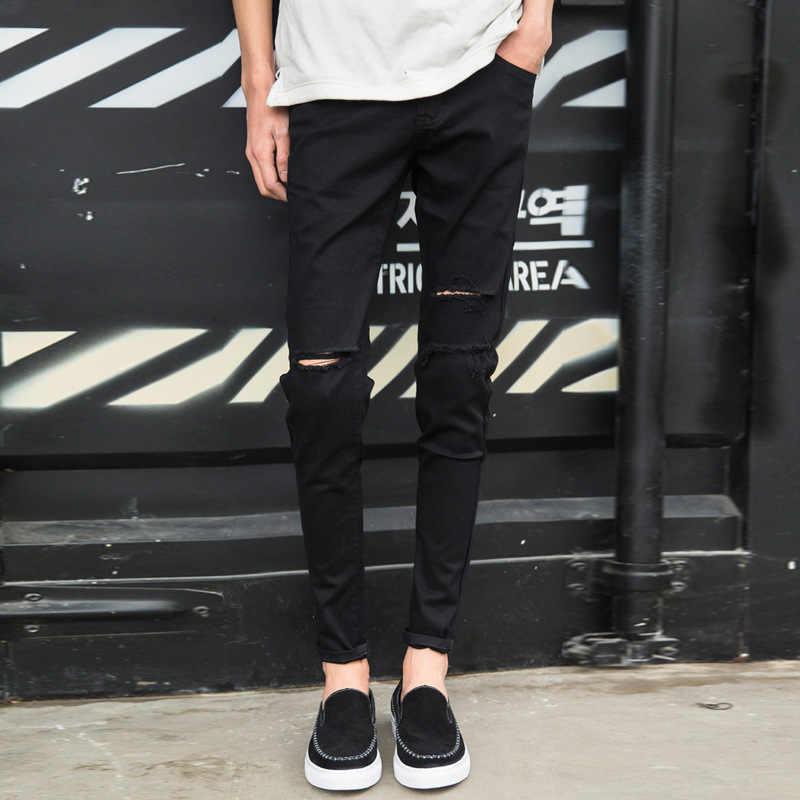 c88600435 ... Top quality 2019 Fashion casual knee hole black skinny jeans men  pantalon homme pencil pants teenagers ...