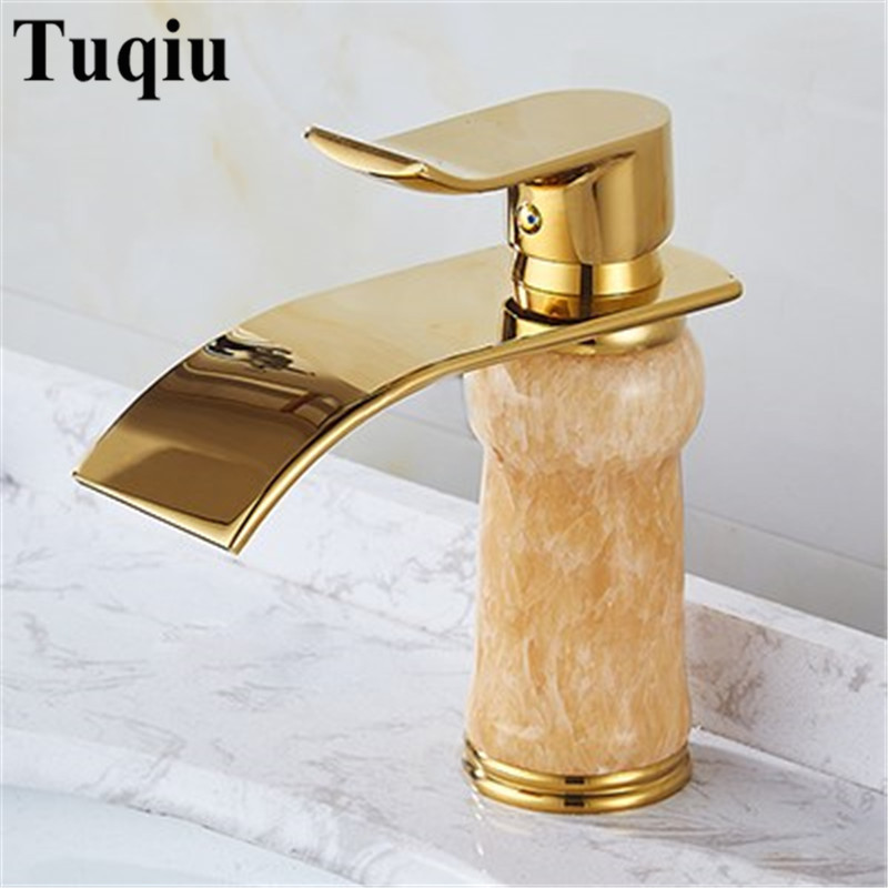 Gold Bathroom Faucet hot and cold Crane Brass and Jade Basin Faucet Waterfall Faucet Sink Faucet Single Handle water tap euro luxury gold bathroom basin faucet single handle vanity sink mixer water tap brass and jade basin waterfall faucet