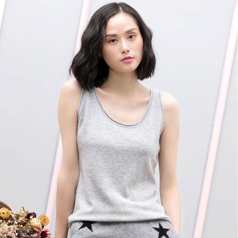 2018 Для женщин Весна Модные свободные футболки без бретелек 100% из чистого кашемира стильная женская обувь, майка женская Повседневное Топы Д