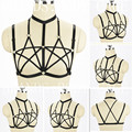 Women Fashion Sexy Cage Pentagram Harness Bra Strappy Elastic Adjust Bondage Lingerie Harajuku Goth Fetish Erotic Wear Crop Tops