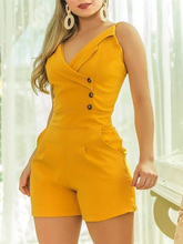 2019 Summer Women Elegant OL Style Casual Playsuit Female Leisure Short Jumpsuit Solid Spaghetti Strap Buttoned Romper