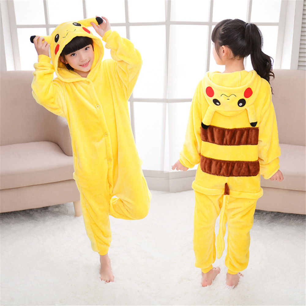Cosplay Pikachu Siamese Hooded Pajamas Flannel Jumpsuit Home Clothing Child Boy/Girl Pajamas Bodysuit