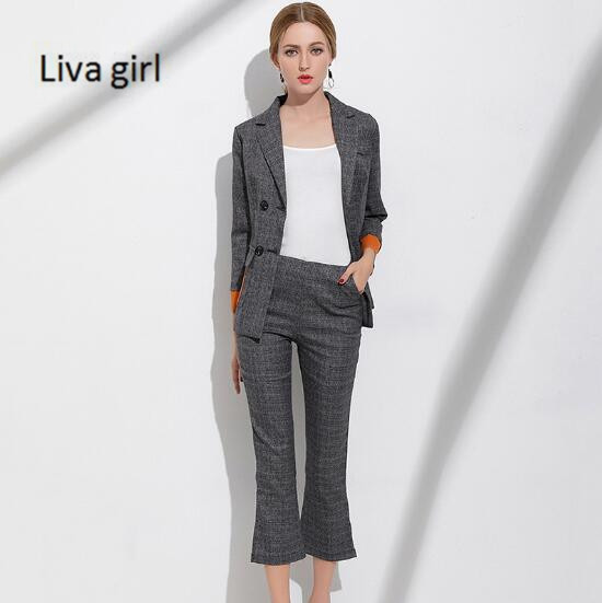 2017 Pure Simple Boy friend Jacket nine lengthye Yellow plaid / Grey Plaid elegant attractive female office laday women suit