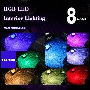 Image 3 - 4 stücke Auto RGB LED Streifen Licht LED Streifen Lichter Farben Auto Styling Dekorative Atmosphäre Lampen Auto Innen Licht Mit fernbedienung