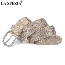 LA SPEZIA Leather Belt Women Rhinestone Pin Buckle Belt Female Fashion Gold Genuine Leather Cowhide Rivet Ladies Jeans Belts цена и фото