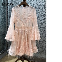 Top Quality Designer Luxurious Women's Dress 2019 Spring Summer Party Evening Ladies Allover Beading Flower Patterns Pink Dress