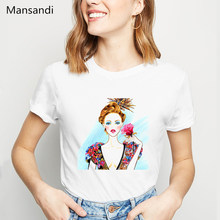 Summer 2019 Boho girl flowers print female t-shirt femme white vogue t shirt women harajuku 90s tops aesthetic clolthes tshirt(China)