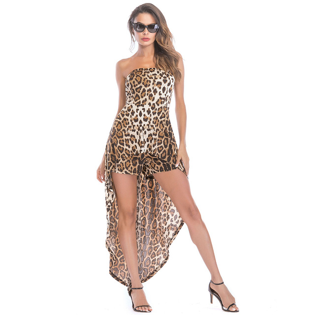 Rompers Womens Jumpsuit 2019 Summer New Women's Bodysuit Tube Top Strapless Leopard Print Female Sexy Jumpsuit