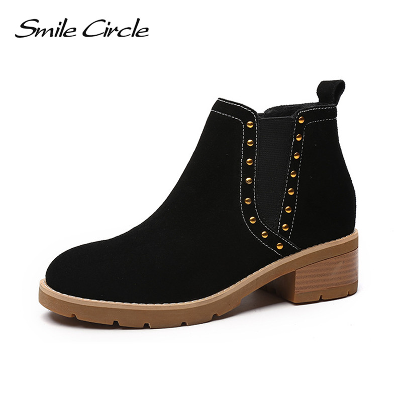 Smile Circle Suede Cow Leather Chelsea Boots Women Ankle Boot Fashion rivets Round Toe Lady Shoes women high heel boots vinlle women boot square low heel pu leather rivets zipper solid ankle boots western style round lady motorcycle boot size 34 43