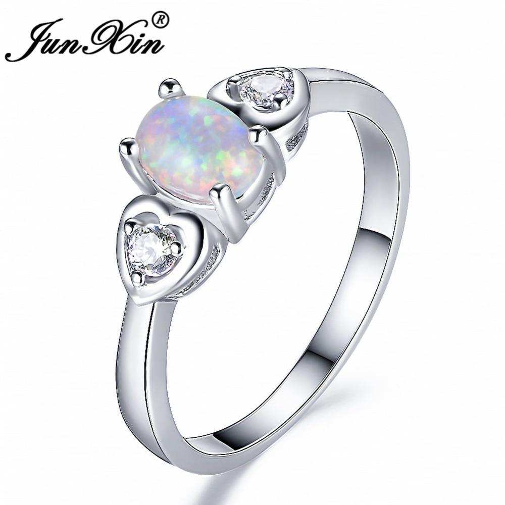 JUNXIN овальный белый/синий огненный опал кольцо милые сердцу обещание Обручение кольца для Для женщин модные белые Gold Filled свадебный ювелирны...