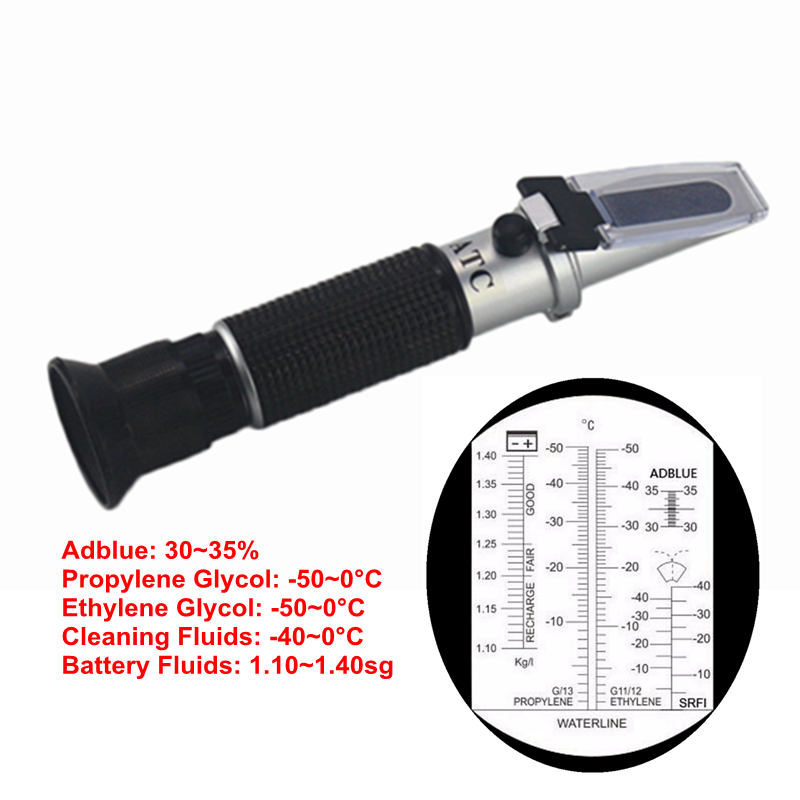 4 in 1 Refractometer Antifreeze Adblue Engine Fluid Adblue Propylene Ethylene Glycol Car Cleaning Battery Fluids Tester ATC +Box цена