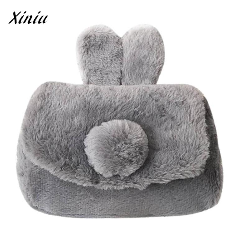 xiniu Kids girls Wool Rabbit Ear Zipper Bag Shoulder Bag Tote Coin purse wallets for children purse for girls