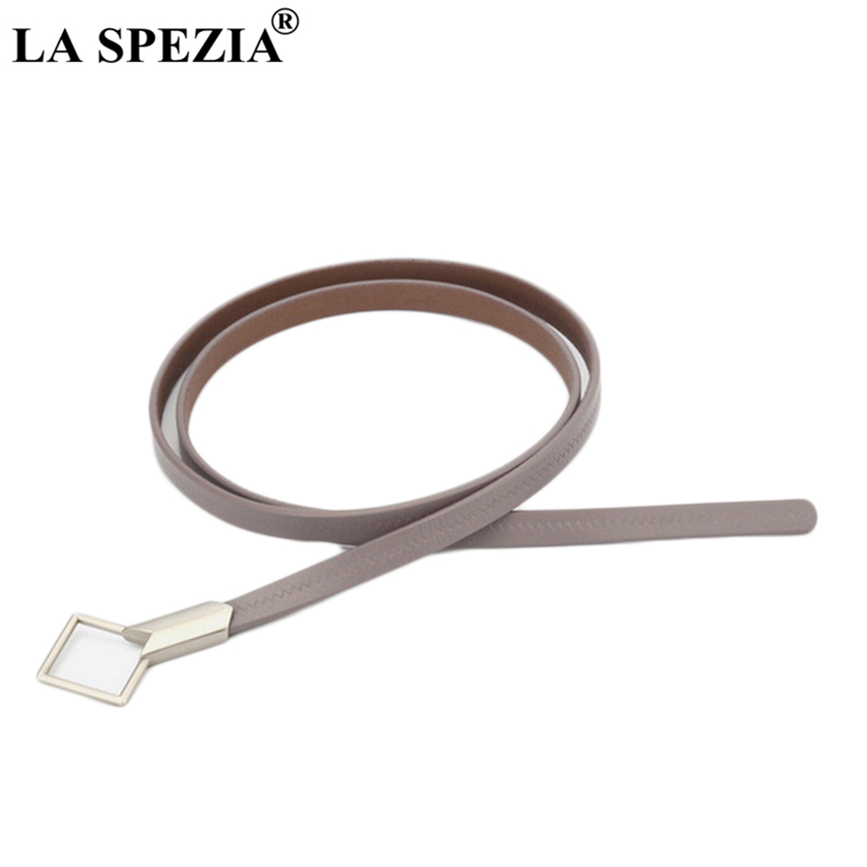 LA SPEZIA Thin Leather Belt Women Grey Knot Belts Female Fashion Solid Real Leather Cowhide Ladies Brand Narrow Belts For Dress
