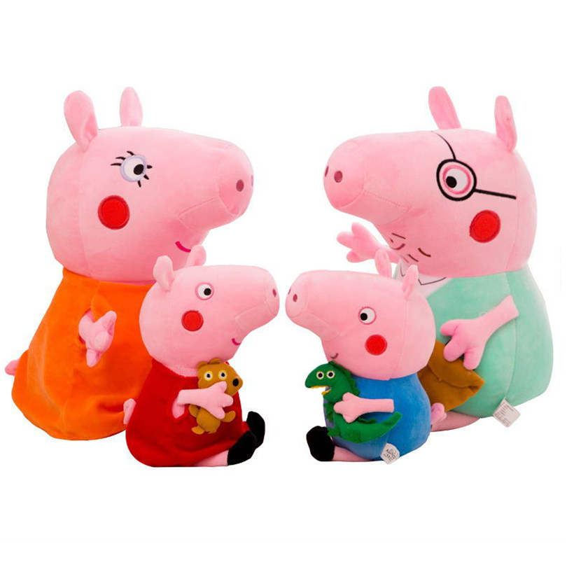4 Pcs Original Peppa Pig Family Set George Dad Mom Pelucia Stuffed Dolls Plush Toys For Children Gifts