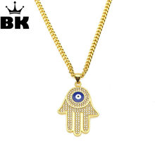 Vintage Multilayer Gold Color Chain Fatima hamsa Hand Pendants Necklace Luck Hand Palm nice Necklace collares(China)