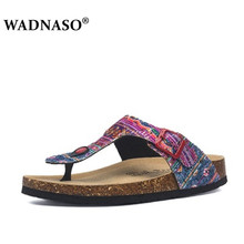 WADNASO New Summer Women Beach Cork Flip Flops Slippers 2019 Casual Mixed Color Print Slip on Slides Shoe Plus Size 35-45