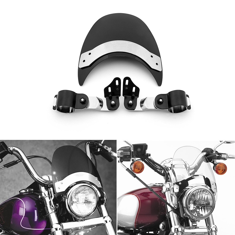 For Harley Softail Sportster XL883 1200 Motorcycle 39mm Clamp Fork Mount Windshield Windscreen Wind Deflectors