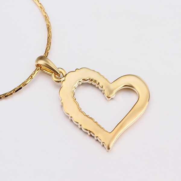 82bb8882d4ecf Crystal Heart Pendant Zircons Jewelry Lover Pendants Gold-Color Pendulum  Bijouterie Pingente Indian Costume Necklace Women N585
