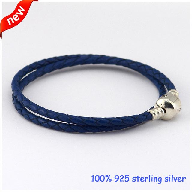 Compatível Com os Encantos de Estilo Europeu Azul Europeu Iniciado Pulseira com 925 Fecho de Prata de Couro Tecido DIY