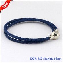 Compatible con encantos europeos del estilo europeo cuero tejido azul pulsera de arranque de la joyería con 925 broche de plata DIY