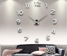Hot sale 3D DIY clock watch wall clocks acrylic mirror Stickers Home Decoration Living Room Quartz