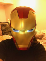 [Funny] The avengers super hero Iron Man Helmet electronic Mask PVC Figure Toy with LED Light Collection Model adult Size